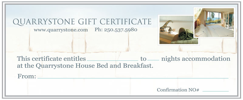 Gift Certificates - Quarrystone House Bed and Breakfast