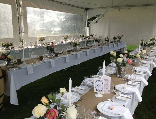 Tables in wedding tent