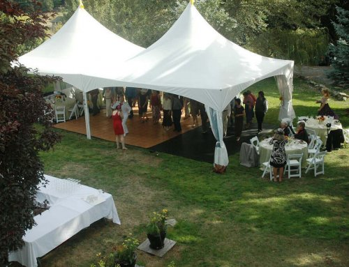 Wedding tent on lawn