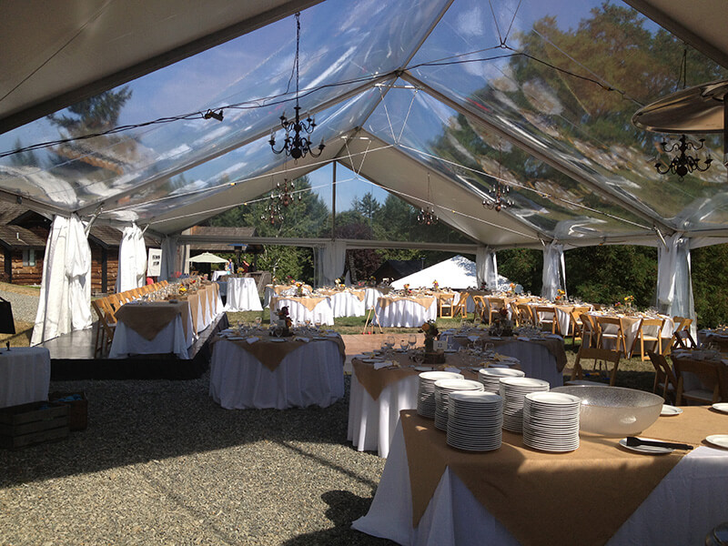 Wedding garden tent with sky roof