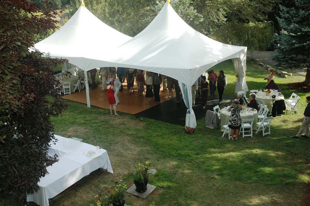 Wedding tent on lawn